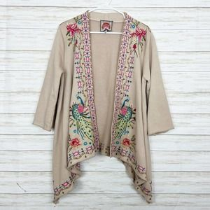Johnny Was   Beige Embroidered Open Front Cardigan